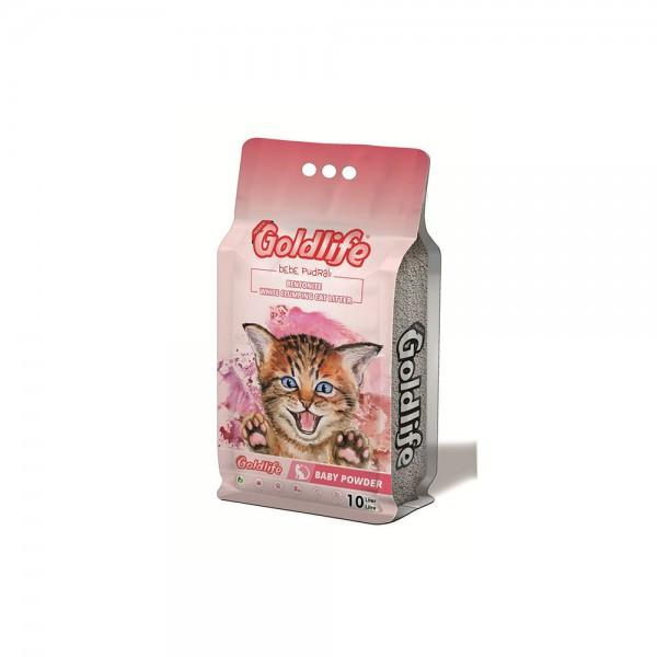 Goldlife Premium Bebe Pudralı Kedi Kumu 10 Lt ince taneli