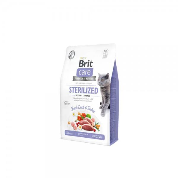 Brit Care Hypo-Allergenic Kilo Kontrolü için Ördekli Tahılsız Kısırlaştırılmış Kedi Maması 2kg