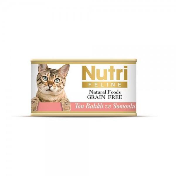 Nutri Feline Kıyılmış Ton Balıklı ve Somonlu Tahılsız Yetişkin Kedi Konservesi 85gr