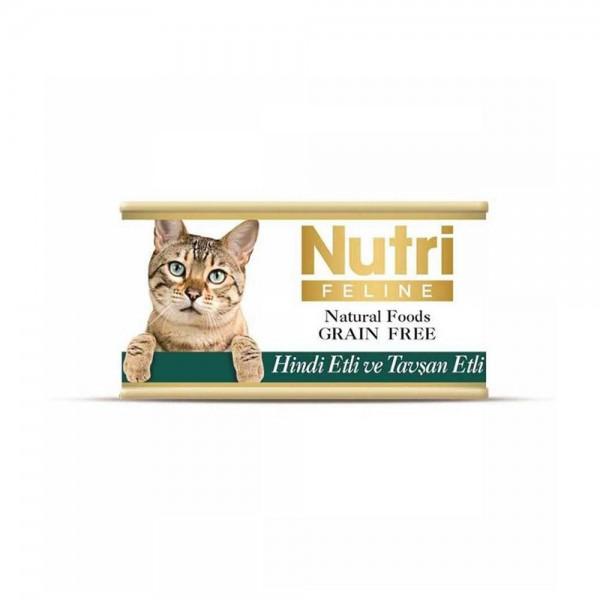 Nutri Feline Hindi Etli ve Tavşanlı Tahılsız Yetişkin Kedi Konservesi 85gr