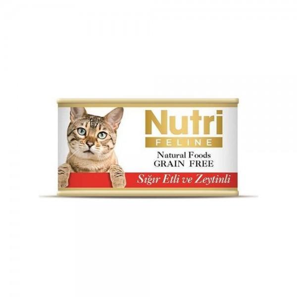 Nutri Feline Tahılsız Sığır Etli Ve Zeytinli Kedi Konservesi 85 gr